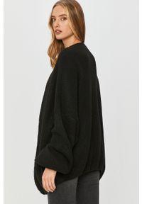 Czarny sweter rozpinany Answear Lab z długim rękawem, wakacyjny, długi