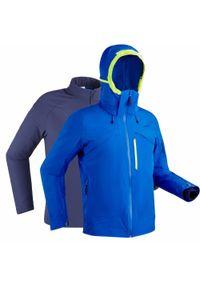 WEDZE - Kurtka narciarska na trasę 3in1 980 męska. Kolor: niebieski. Materiał: materiał. Sport: narciarstwo