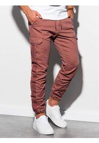 Czerwone spodnie Ombre Clothing z aplikacjami