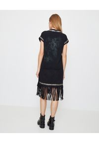 Balmain - BALMAIN - Sukienka z frędzlami. Okazja: na imprezę. Kolor: czarny. Materiał: bawełna. Wzór: aplikacja, kolorowy. Sezon: lato. Styl: rockowy