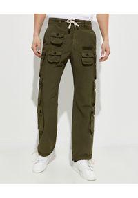PALM ANGELS - Spodnie cargo w kolorze khaki. Kolor: zielony. Długość: długie. Wzór: aplikacja