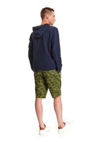 TOP SECRET - Bluza lniana z kapturem. Typ kołnierza: kaptur. Kolor: niebieski. Materiał: len. Długość: długie. Sezon: lato. Styl: klasyczny