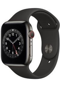 APPLE - Apple smartwatch Watch Series 6 Cellular, 44mm Graphite Stainless Steel Case with Black Sport Band. Rodzaj zegarka: smartwatch. Kolor: szary. Styl: sportowy