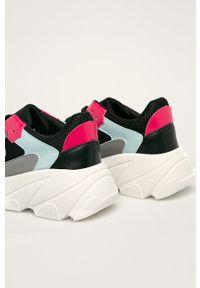 Czarne buty sportowe Glamorous z cholewką, na sznurówki, z okrągłym noskiem