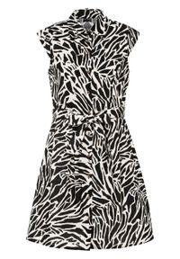 Sukienka koszulowa z lnu z nadrukiem bonprix czarny w paski zebry. Kolor: czarny. Materiał: len. Wzór: motyw zwierzęcy, paski, nadruk. Typ sukienki: koszulowe
