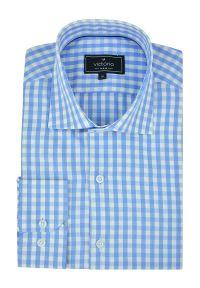 Victorio - Koszula Niebieska w Kratkę z Długim Rękawem, 100% Bawełniana -VICTORIO- Wizytowa, Taliowana. Okazja: na co dzień. Kolor: niebieski. Materiał: bawełna. Długość rękawa: długi rękaw. Długość: długie. Wzór: kratka. Styl: wizytowy