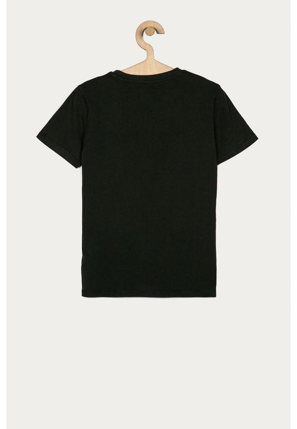 Szary t-shirt Guess Jeans z nadrukiem, na co dzień