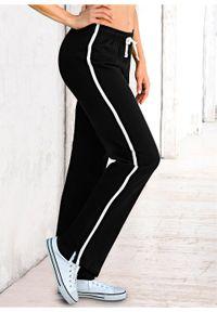 Czarne spodnie bonprix melanż, sportowe, długie