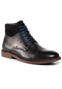 Czarne buty wizytowe Wojas eleganckie, z cholewką