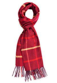 Czerwony szalik Lancerto casualowy, na co dzień, w kolorowe wzory