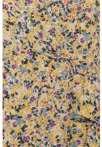 Vila - Sukienka. Kolor: żółty. Materiał: tkanina. Długość rękawa: krótki rękaw. Typ sukienki: rozkloszowane