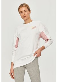 Biała bluza Nike bez kaptura, długa