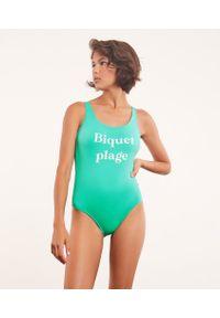 Plages Swim Jednoczęściowy Kostium Kąpielowy Z Napisem 'Biquet Plage' - 40 - Turkusowy - Etam. Kolor: turkusowy. Wzór: napisy