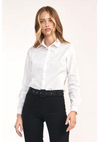 Nife - Klasyczna Biała Koszula z Bawełną. Kolor: biały. Materiał: bawełna. Styl: klasyczny