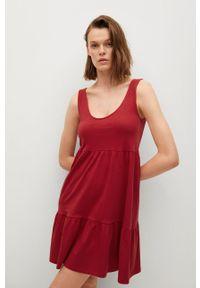 mango - Mango - Sukienka MAROTO. Kolor: czerwony. Materiał: dzianina, bawełna. Długość rękawa: na ramiączkach. Typ sukienki: rozkloszowane
