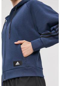 Niebieska bluza rozpinana adidas Performance casualowa, gładkie, na co dzień