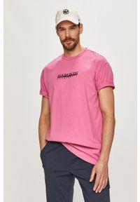 Różowy t-shirt Napapijri na co dzień, casualowy, z nadrukiem
