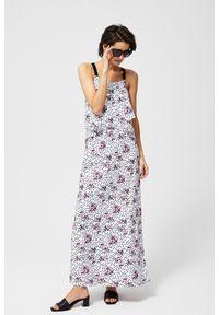 Biała sukienka MOODO na co dzień, maxi, casualowa, w kwiaty