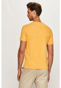 Żółty t-shirt Polo Ralph Lauren casualowy, z okrągłym kołnierzem, na co dzień