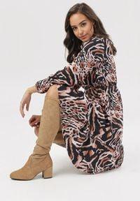 Born2be - Czarno-Brązowa Sukienka Amalinei. Kolor: wielokolorowy, brązowy, czarny. Materiał: dzianina. Długość rękawa: długi rękaw. Wzór: nadruk. Długość: mini