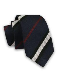 Alties - Granatowy Elegancki Męski Krawat -ALTIES- 6cm, Stylowy, Klasyczny, w Biało-Czerwono-Czarne Paski. Kolor: niebieski, czerwony, wielokolorowy. Materiał: tkanina. Wzór: prążki, paski. Styl: klasyczny, elegancki