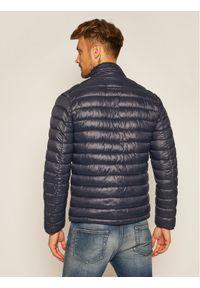 Niebieska kurtka puchowa Karl Lagerfeld z dekoltem karo