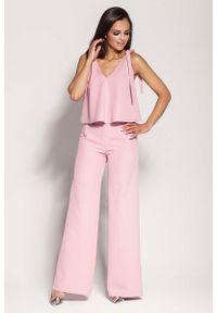 Różowe spodnie z wysokim stanem Dursi
