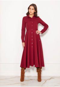 e-margeritka - Sukienka koszulowa długa elegancka bordowa - 42. Okazja: do pracy. Kolor: czerwony. Materiał: materiał, poliester. Długość rękawa: długi rękaw. Typ sukienki: koszulowe. Styl: elegancki. Długość: maxi