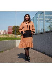 Sukienka dla puszystych Moda Size Plus Iwanek z kontrastowym kołnierzykiem, na spacer, na jesień, z aplikacjami