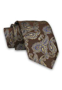 Brązowy Męski Krawat -Chattier- 7,5cm, Klasyczny, Elegancki, w Niebiesko-Żółty Wzór Paisley. Kolor: brązowy, wielokolorowy, żółty, beżowy, złoty, niebieski. Materiał: tkanina. Wzór: paisley. Styl: klasyczny, elegancki