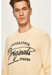 Żółta bluza nierozpinana Jack & Jones z nadrukiem, na co dzień
