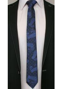 Alties - Granatowy Elegancki Krawat w Łezki -ALTIES- 6 cm, Męski, Paisley. Kolor: niebieski. Materiał: tkanina. Wzór: paisley. Styl: elegancki