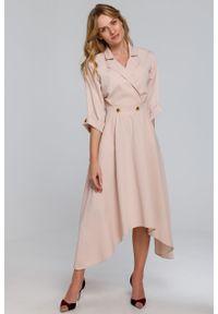 e-margeritka - Sukienka rozkloszowana midi elegancka beżowa - l. Kolor: beżowy. Materiał: tkanina, poliester, materiał, elastan. Wzór: gładki. Typ sukienki: asymetryczne, kopertowe, rozkloszowane. Styl: elegancki. Długość: midi