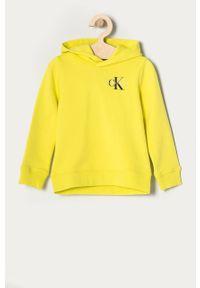 Żółta bluza Calvin Klein Jeans z kapturem, casualowa