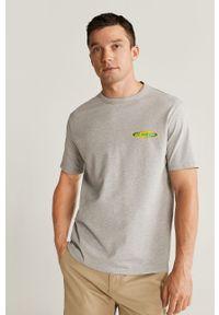 Szary t-shirt Mango Man casualowy, na co dzień, z nadrukiem