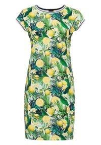 Sukienka z dżerseju, krótki rękaw bonprix żółto-zielono-biały wzorzysty. Kolor: żółty. Materiał: jersey. Długość rękawa: krótki rękaw. Wzór: nadruk, aplikacja, paski. Sezon: lato