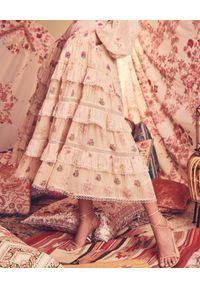 HEMANT & NANDITA - Różowa spódnica z falbanami Kefi. Kolor: wielokolorowy, różowy, fioletowy. Materiał: koronka, wiskoza. Wzór: nadruk, aplikacja, ażurowy, kwiaty. Typ sukienki: rozkloszowane. Długość: maxi