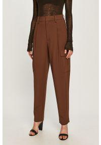 Brązowe spodnie materiałowe Miss Sixty na co dzień, z podwyższonym stanem