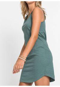 Sukienka shirtowa z koronką bonprix szarozielony. Kolor: zielony. Materiał: koronka. Wzór: koronka