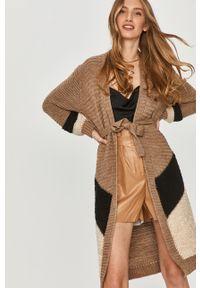 Beżowy sweter rozpinany Answear Lab z długim rękawem, wakacyjny, długi, z aplikacjami