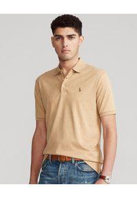 Ralph Lauren - RALPH LAUREN - Brązowa koszulka polo Slim Fit Soft. Typ kołnierza: polo. Kolor: brązowy. Materiał: bawełna, prążkowany. Wzór: kolorowy, haft