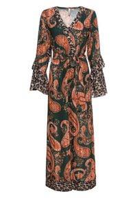 """Długa sukienka szyfonowa z rękawami z falbanami bonprix zielono-pomarańczowy """"paisley"""". Kolor: zielony. Materiał: szyfon. Wzór: paisley. Długość: maxi"""