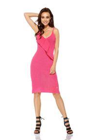 Lemoniade - Fuksja Sukienka Swetrowa na Cienkich Ramiączkach. Kolor: różowy. Materiał: bawełna, akryl. Długość rękawa: na ramiączkach