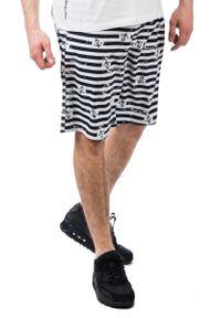Pako Jeans - Granatowo-Białe Męskie Spodenki Plażowe, Żeglarskie, W Kotwice,Letnie. Okazja: na plażę. Kolor: biały, niebieski, wielokolorowy. Materiał: poliester. Sezon: lato #4