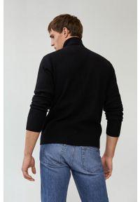 Czarny sweter Mango Man z golfem, z długim rękawem, casualowy