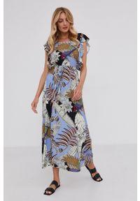 Answear Lab - Sukienka. Kolor: fioletowy. Materiał: tkanina. Typ sukienki: rozkloszowane. Styl: wakacyjny