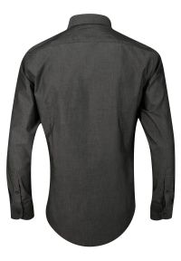 Chiao - Popielata Koszula Męska z Długim Rękawem, 100% Bawełna -CHIAO- Taliowana, Jednokolorowa. Okazja: do pracy, na spotkanie biznesowe. Kolor: szary. Materiał: bawełna. Długość rękawa: długi rękaw. Długość: długie. Wzór: aplikacja. Styl: biznesowy, elegancki