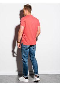 Ombre Clothing - Koszulka męska polo klasyczna bawełniana S1374 - koralowa - XXL. Typ kołnierza: polo. Kolor: pomarańczowy. Materiał: bawełna. Wzór: haft. Styl: klasyczny