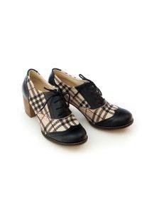Zapato - sznurowane półbuty na 6 cm słupku - skóra naturalna - model 251 - kolor czarny + beżowa kratka. Kolor: wielokolorowy, beżowy, czarny. Materiał: skóra. Wzór: kratka. Obcas: na słupku