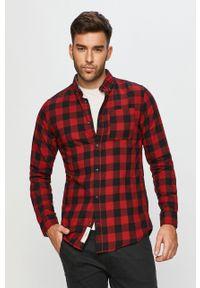 Czerwona koszula PRODUKT by Jack & Jones button down, casualowa, długa